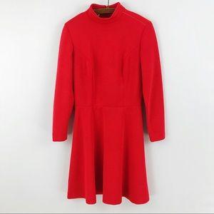 1960s Mod Scarlett Red Retro Long Sleeve Dress